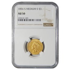 1856-S Ngc AU50 $3 Gold
