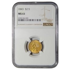 1843 Ngc MS61 $2.50 Liberty Head Gold