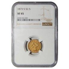 1873-S Ngc XF45 $2.50 Liberty Head Gold