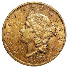 1875-S Pcgs AU53 $20 Liberty Head Gold