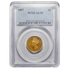 1857 Pcgs AU55 Three Dollar Gold