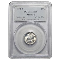 1945-S Pcgs MS66 Micro S Mercury Dime