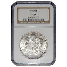1893-O Ngc AU58 Morgan Dollar