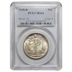 1918-D Pcgs MS64 Walking Liberty Half Dollar