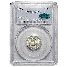 1883 Pcgs/Cac MS66 Seated Liberty Dime