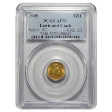 1905 Pcgs AU55 Lewis and Clark $1 Gold