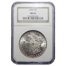 1890 Ngc MS64 Morgan Dollar
