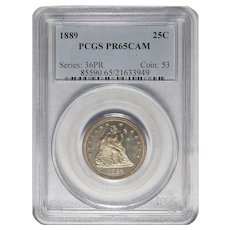 1889 Pcgs PR65CAM Liberty Seated Quarter