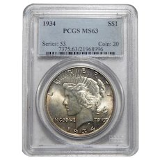 1934 Pcgs MS63 Peace Dollar