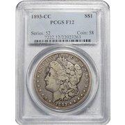 1893-CC Pcgs F12 Morgan Dollar