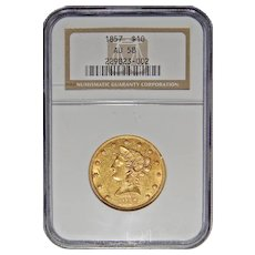 1857 Ngc AU58 $10 Liberty Head Gold