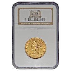 1857 Ngc AU58 $10 Liberty Head Gold