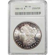 1884-CC Anacs MS64 Morgan Dollar