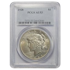 1928 Pcgs AU53 Peace Dollar