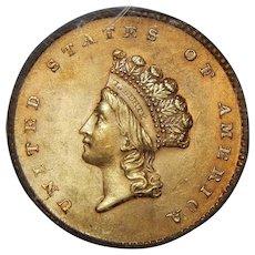 1854 Pcgs MS64 Type-2 $1 Gold