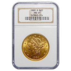 1889-S Ngc MS61 $20 Liberty Head Gold