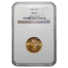 1882-S Ngc MS62 $5 Liberty Head Gold