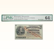 PMG 64 EPQ 5 Cent Wisconsin, Menomonie Obsolete Bank Note