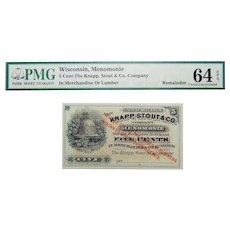 PMG 64 EPQ 5 Cent Wisconsin, Menomonie Obsolete Bank Note