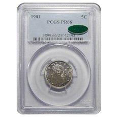 "1901 Pcgs/Cac PR66 Liberty ""V"" Nickel"