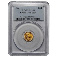 1922 Pcgs MS66 $1 Gold Grant, With Star