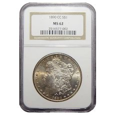1890-CC Ngc MS62 Morgan Dollar