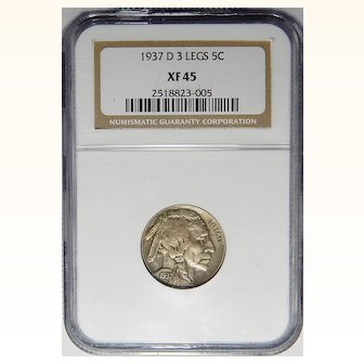 1937-D 3 Legs Ngc XF45 Buffalo Nickel