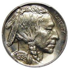 1936 Pcgs PR66 Brilliant Buffalo Nickel
