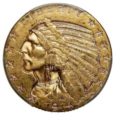 1914-S Pcgs MS62 $5 Indian Gold