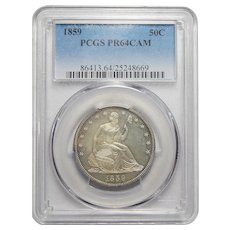 1859 Pcgs PR64CAM Liberty Seated Half Dollar