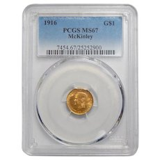 1916 Pcgs MS67 $1 McKinley Gold