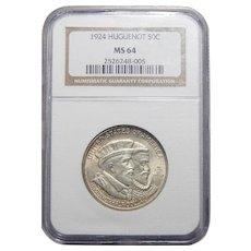 1924 Ngc MS64 Huguenot Half Dollar