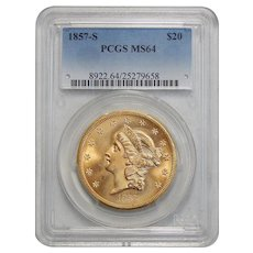 1857-S Pcgs MS64 $20 Liberty Head Gold