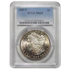 1886-S Pcgs MS65 Morgan Dollar