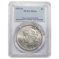 1923-D Pcgs MS66 Peace Dollar