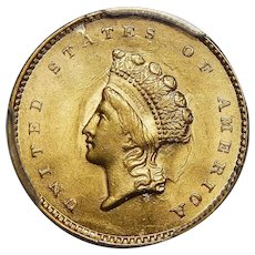 1855 Pcgs MS63 $1 Gold