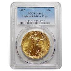 1907 Pcgs MS63 High Relief-Wire Edge $20 Saint Gauden