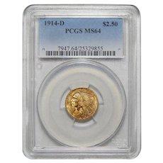 1914-D Pcgs MS64 $2.50 Indian Gold