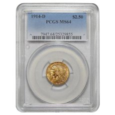 1914-D Pcgs MS64 $2.50 Indian Gold