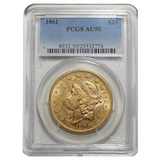 1861 Pcgs AU50 $20 Liberty Head Gold