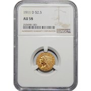 1911-D Ngc AU58 $2.50 Strong D Indian Gold