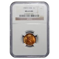 1909-S VDB Ngc MS65RD Lincoln Wheat Cent