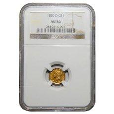 1850-DNgc AU50 Gold Dollar