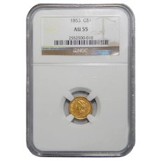 1853 Ngc AU55 One Dollar Gold