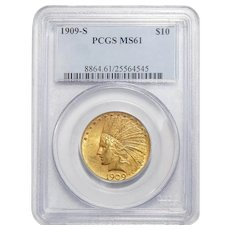 1909-S Pcgs MS61 $10 Indian Gold