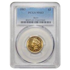 1883 Pcgs MS63 $3 Gold (Kerr)