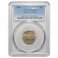 1858 Pcgs MS65 Large Letters Flying Eagle Cent