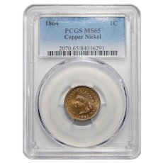 1864 Pcgs MS65 Copper Nickel Indian Head Cent