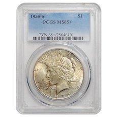 1935-S Pcgs MS65+ Peace Dollar