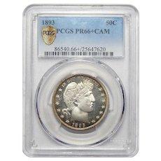 1893 Pcgs PR66+CAM Barber Half Dollar